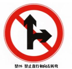 禁止直行和向右转弯标志